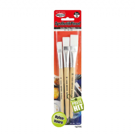 Synthetic Stencil Paint  Brushes x 3 (Item No: 14235)